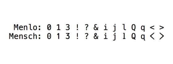Mensch - A coding font (tt)
