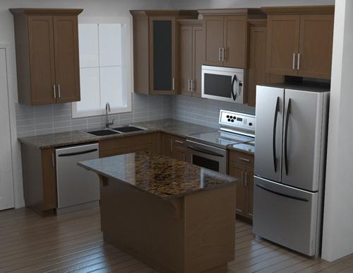 Rendu 3D d'une cuisine