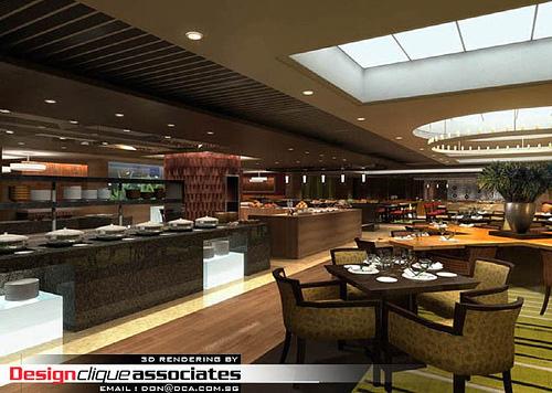 Rendu 3D d'un restaurant design