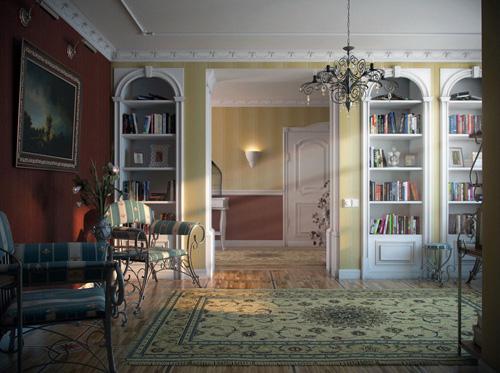 Rendu 3D d'une librairie à Provence