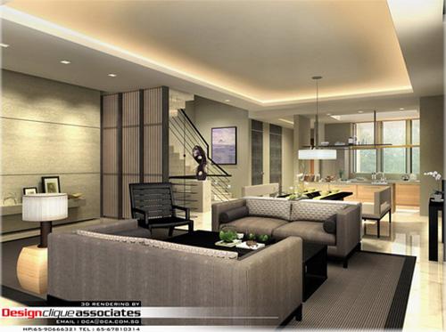 Rendu 3D d'un salon privé