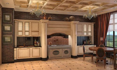 Rendu 3D de l'intérieur d'une cuisine