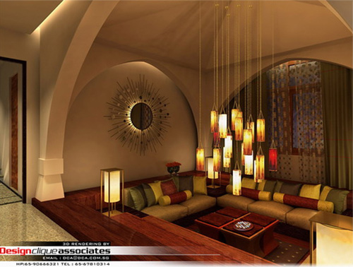 Rendu 3D d'un salon