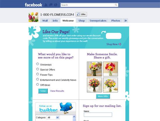 1800flowers dans les exemples pages fans facebook