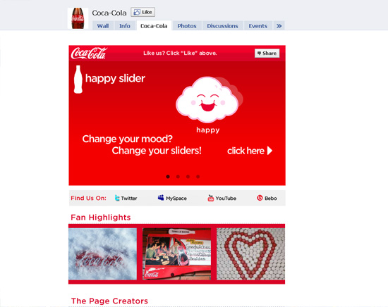 Cocacola dans les exemples pages fans facebook