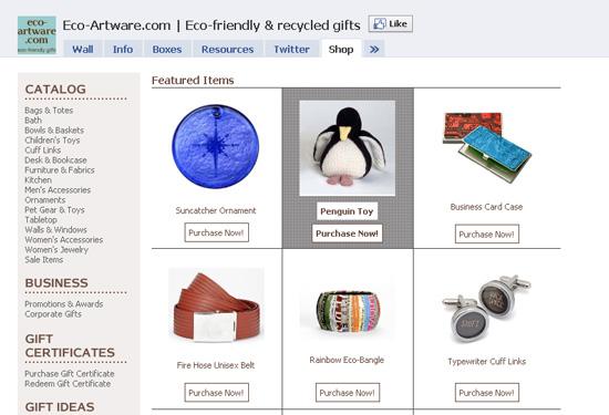 Ecoartware dans les exemples pages fans facebook