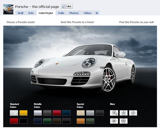 Porsche dans les exemples pages fans facebook