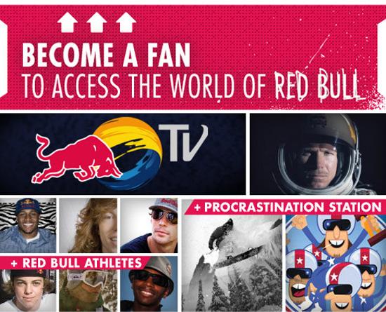 Redbull dans les exemples pages fans facebook