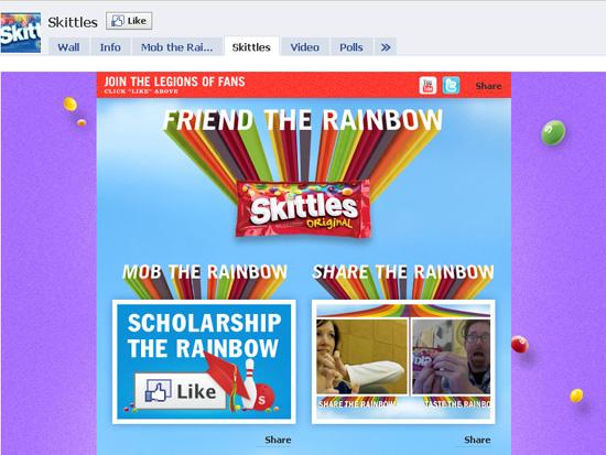 Skittles dans les exemples pages fans facebook