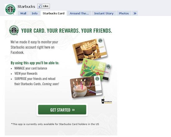 Starbucks dans les exemples pages fans facebook