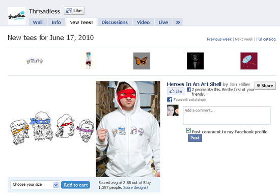 Threadless dans les exemples pages fans facebook