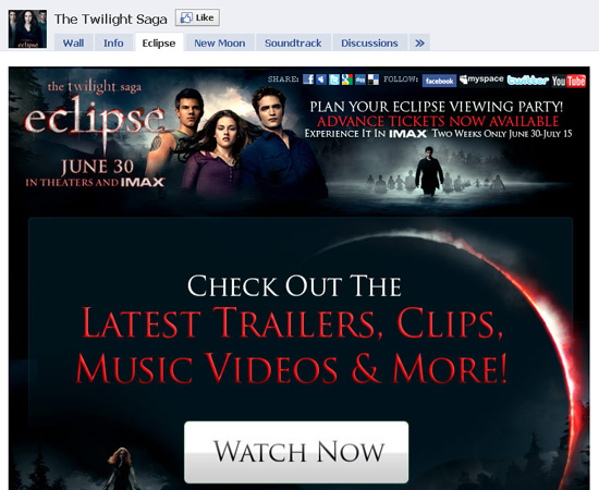 Twilight dans les exemples pages fans facebook