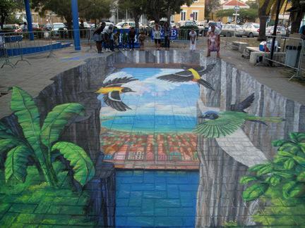 Falaises peinture de la rue 3D