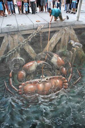 Pêche au crabe peinture de la rue 3D