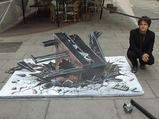 Lancement d'album de Jamie Cullum peinture de la rue 3D
