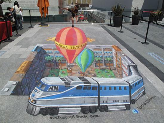 Journée nationale du train  peinture de la rue 3D