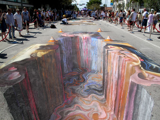 Asphalte chaude peinture de la rue 3D