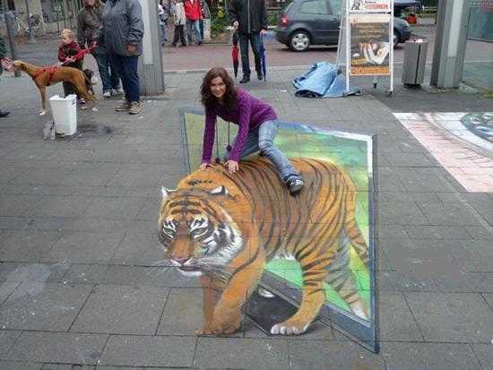 TV Tiger peinture de la rue 3D