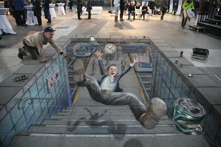 Un accident à la gare peinture de la rue 3D