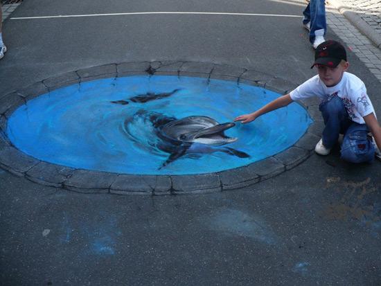 Dauphin peinture de la rue 3D