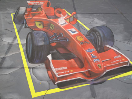 f1Singapour peinture de la rue 3D