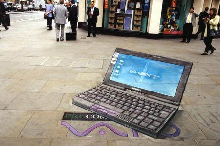 Ordinateur portable peinture de la rue 3D