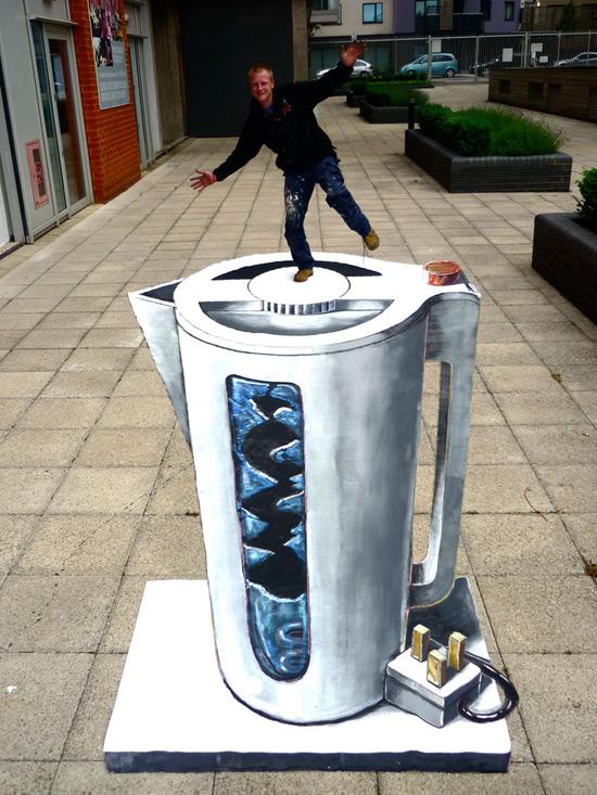 Mettre la bouilloire peinture de la rue 3D
