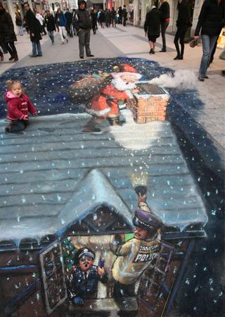 Père Noël peinture de la rue 3D