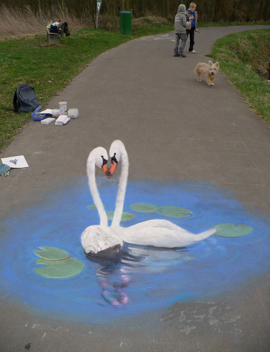 Cygnes peinture de la rue 3D