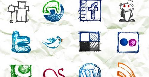 Icônes sociaux dessinés