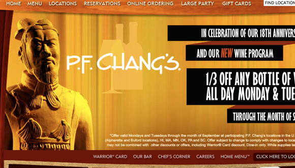 Inspiration site restaurant : PF Changs