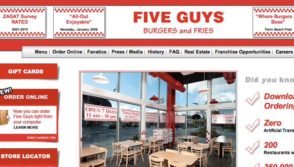 Inspiration site restaurant : Five Guys