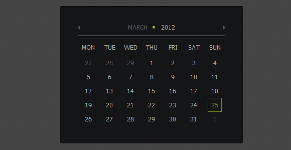 calendrier jquery css3