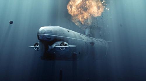 Effet de charge explosive sous l'eau