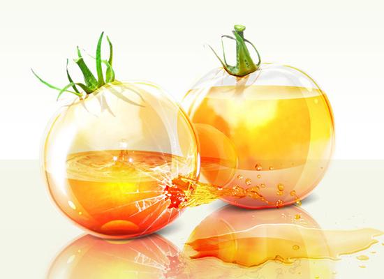 Photoshop : des tomates en verre