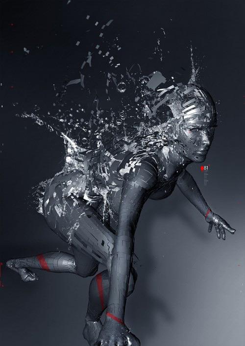 Confectionner une image 3D comprenant une explosion liquide