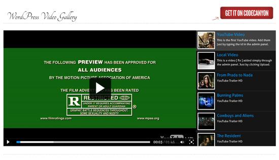 galerie wordpress de vidéo YouTube et Vimeo